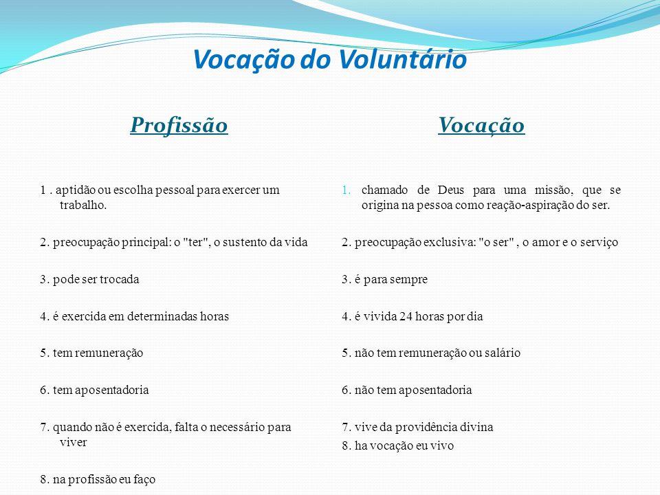 Vocação do Voluntário Profissão Vocação