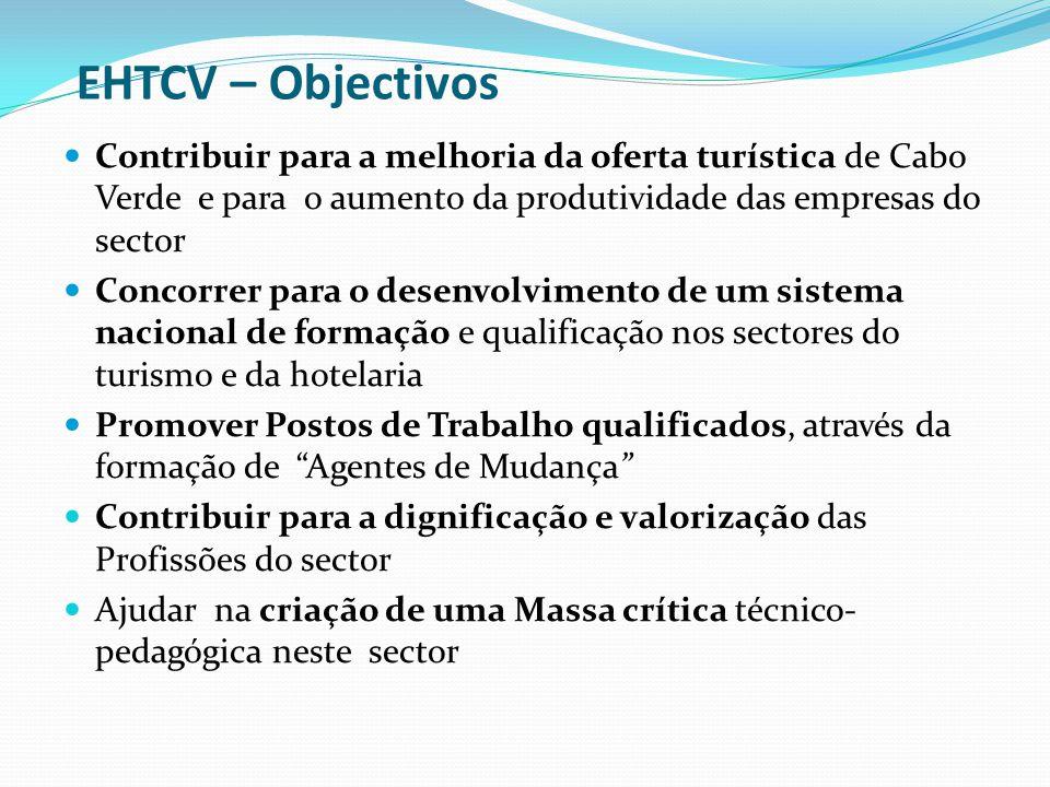 EHTCV – Objectivos Contribuir para a melhoria da oferta turística de Cabo Verde e para o aumento da produtividade das empresas do sector.