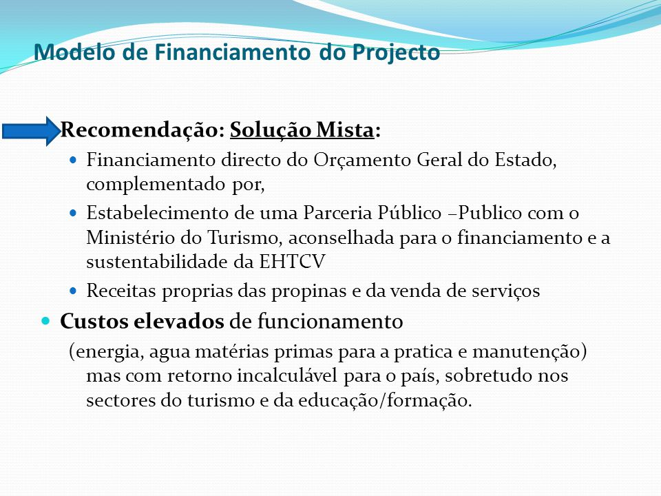 Modelo de Financiamento do Projecto