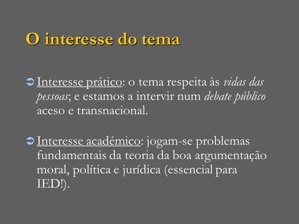 O interesse do tema Interesse prático: o tema respeita às vidas das pessoas; e estamos a intervir num debate público aceso e transnacional.