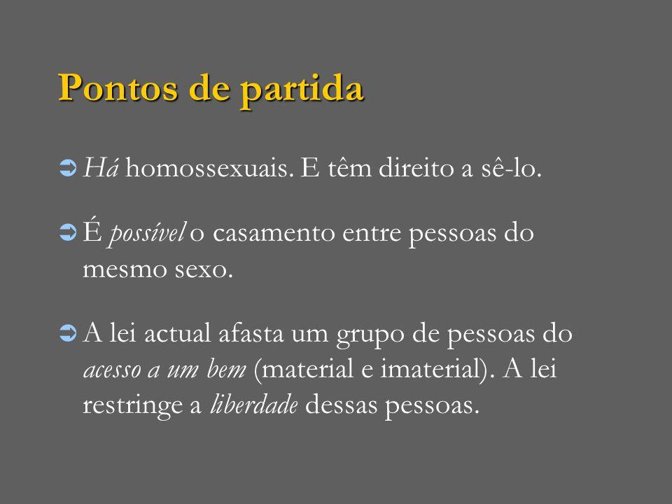 Pontos de partida Há homossexuais. E têm direito a sê-lo.