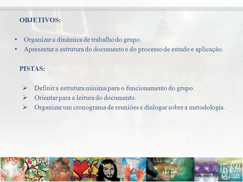 OBJETIVOS: Organizar a dinâmica de trabalho do grupo. Apresentar a estrutura do documento e do processo de estudo e aplicação.