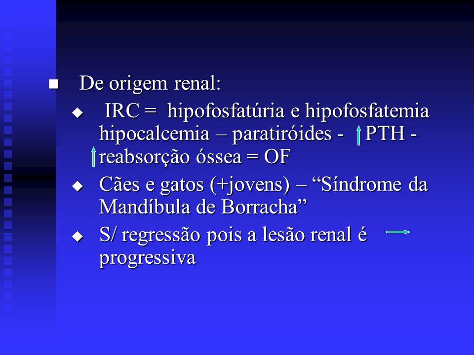 De origem renal: IRC = hipofosfatúria e hipofosfatemia hipocalcemia – paratiróides - PTH - reabsorção óssea = OF.