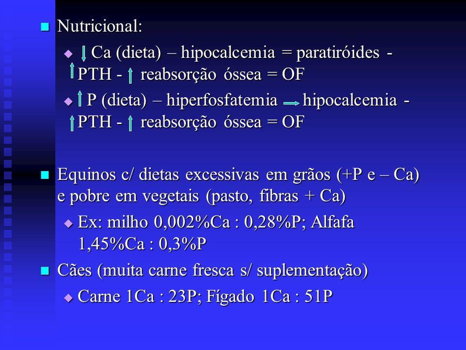 Nutricional: Ca (dieta) – hipocalcemia = paratiróides - PTH - reabsorção óssea = OF.