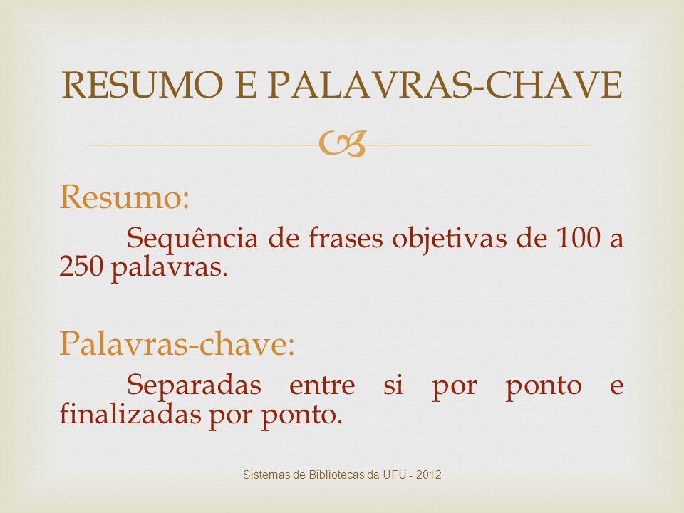RESUMO E PALAVRAS-CHAVE