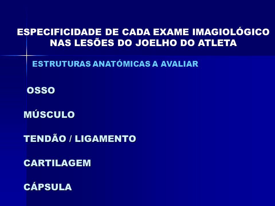 ESPECIFICIDADE DE CADA EXAME IMAGIOLÓGICO NAS LESÕES DO JOELHO DO ATLETA