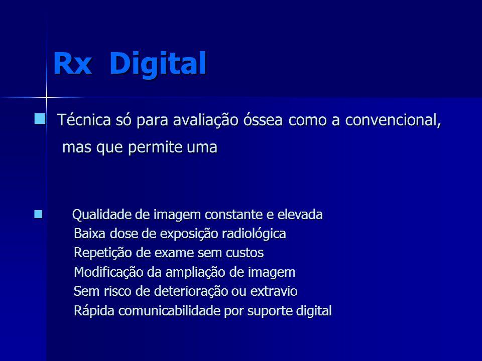Rx Digital Técnica só para avaliação óssea como a convencional,
