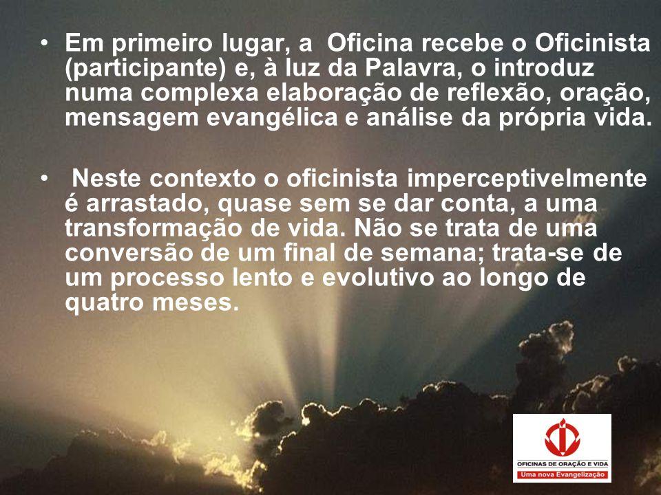 Em primeiro lugar, a Oficina recebe o Oficinista (participante) e, à luz da Palavra, o introduz numa complexa elaboração de reflexão, oração, mensagem evangélica e análise da própria vida.