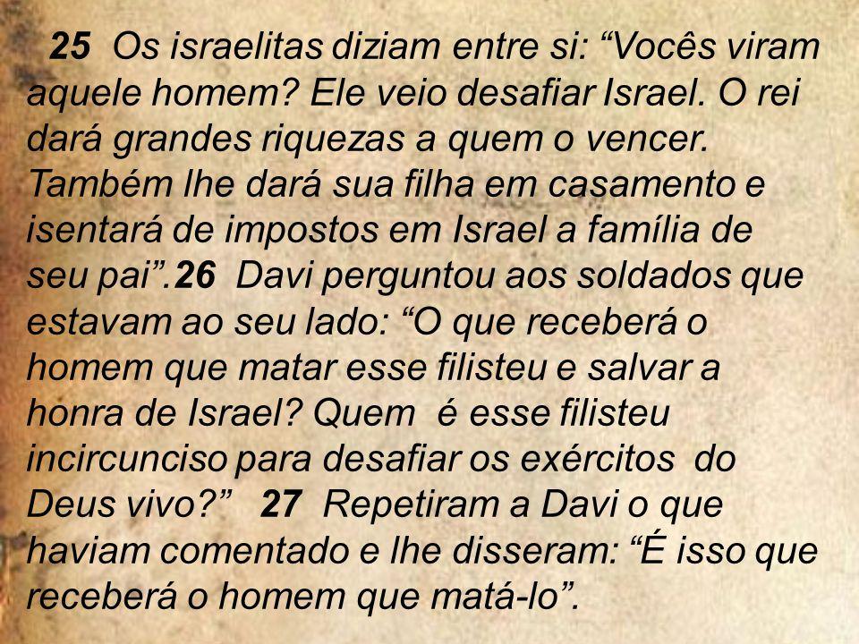 25 Os israelitas diziam entre si: Vocês viram aquele homem