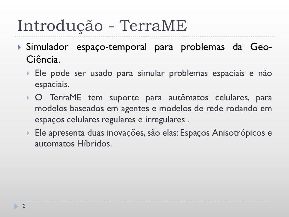 Introdução - TerraME Simulador espaço-temporal para problemas da Geo- Ciência. Ele pode ser usado para simular problemas espaciais e não espaciais.