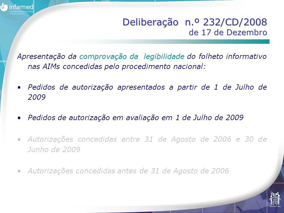 Deliberação n.º 232/CD/2008 de 17 de Dezembro