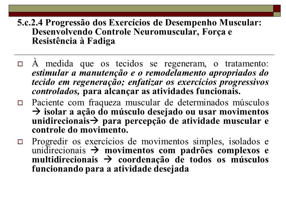 5.c.2.4 Progressão dos Exercícios de Desempenho Muscular: Desenvolvendo Controle Neuromuscular, Força e Resistência à Fadiga