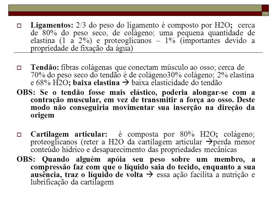 Ligamentos: 2/3 do peso do ligamento é composto por H2O; cerca de 80% do peso seco, de colágeno; uma pequena quantidade de elastina (1 a 2%) e proteoglicanos – 1% (importantes devido a propriedade de fixação da água)