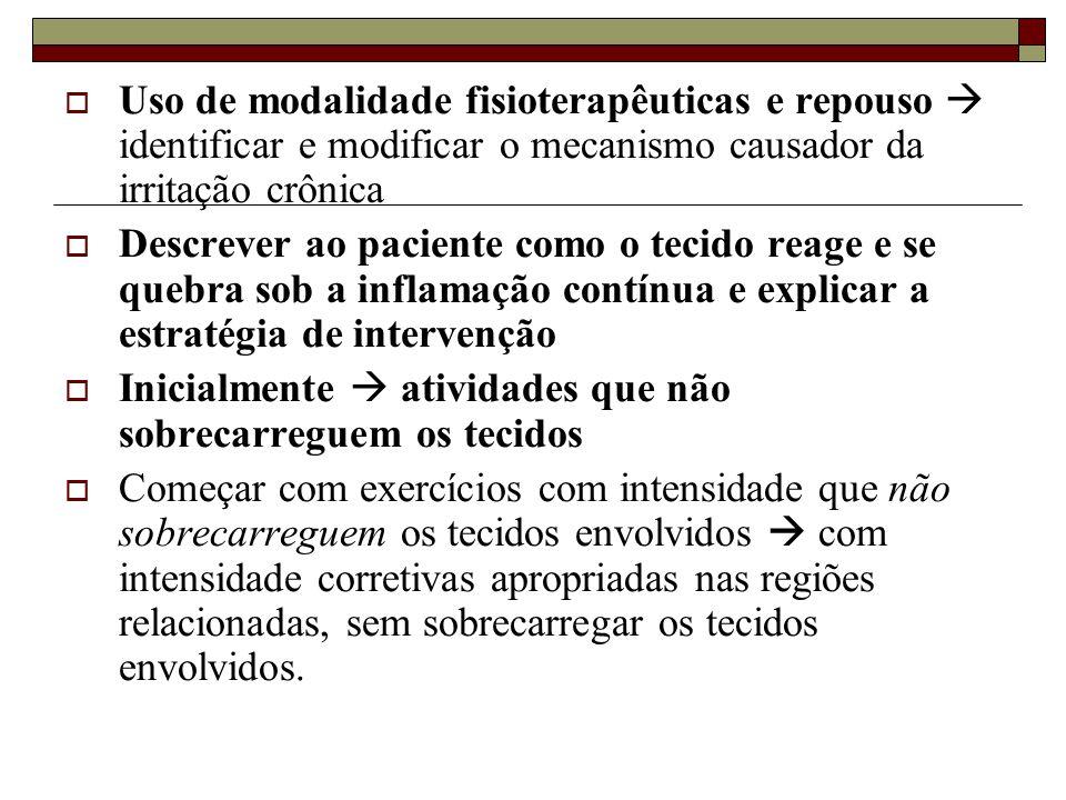 Uso de modalidade fisioterapêuticas e repouso  identificar e modificar o mecanismo causador da irritação crônica