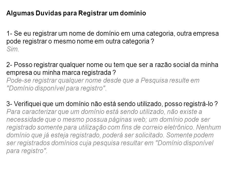 Algumas Duvidas para Registrar um domínio