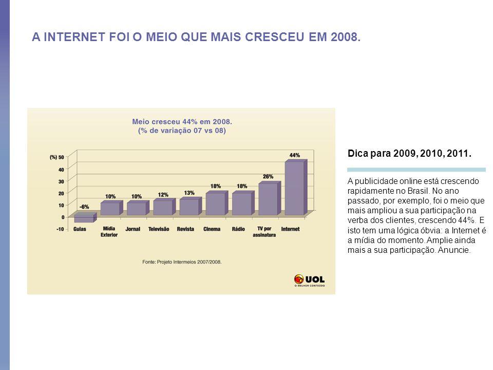 A INTERNET FOI O MEIO QUE MAIS CRESCEU EM 2008.