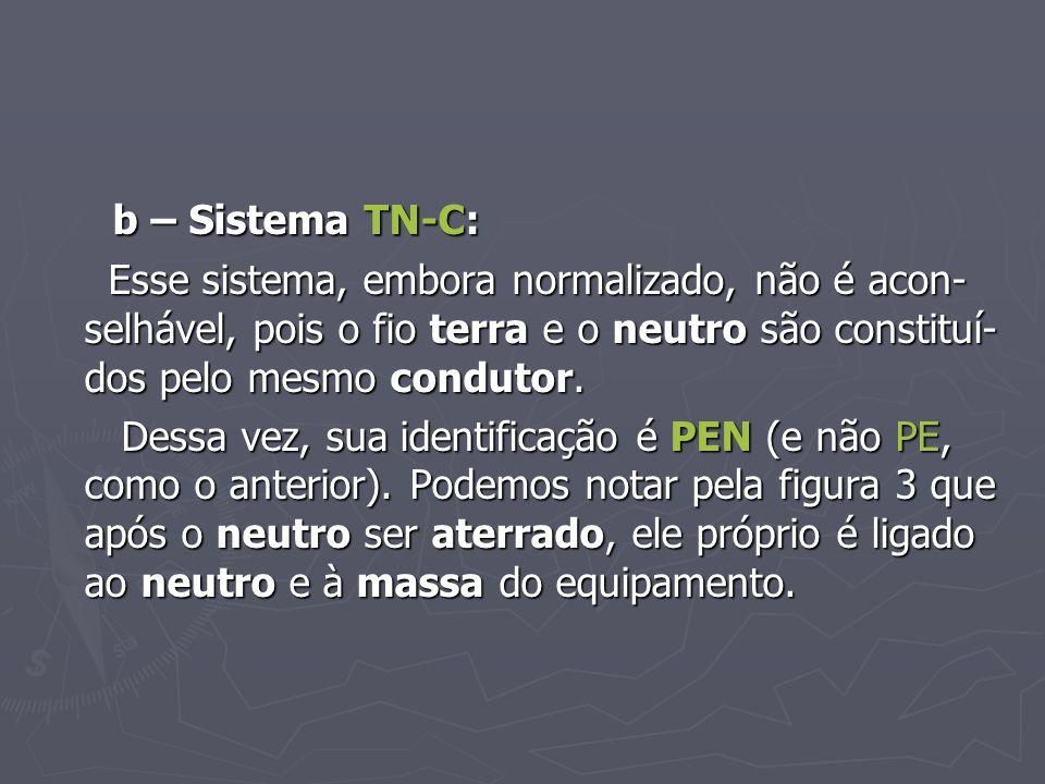 b – Sistema TN-C: Esse sistema, embora normalizado, não é acon-selhável, pois o fio terra e o neutro são constituí-dos pelo mesmo condutor.