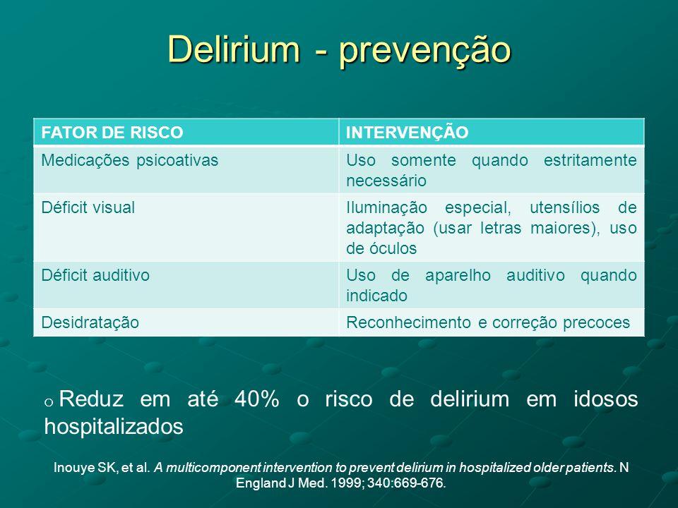 Delirium - prevenção FATOR DE RISCO INTERVENÇÃO Medicações psicoativas
