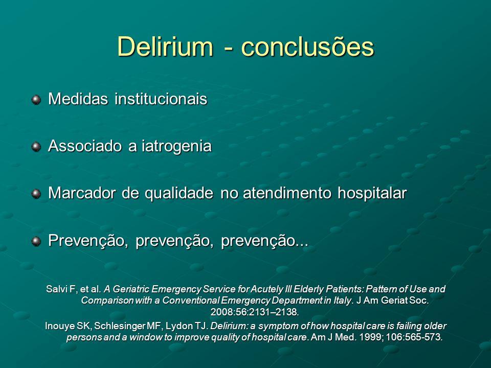 Delirium - conclusões Medidas institucionais Associado a iatrogenia