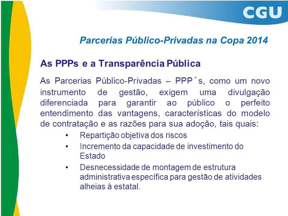 Parcerias Público-Privadas na Copa 2014