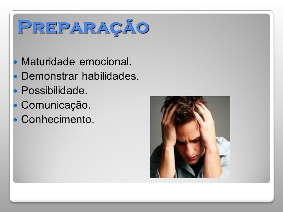 Preparação Maturidade emocional. Demonstrar habilidades.