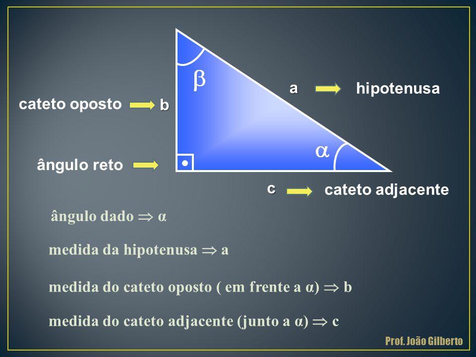 . a hipotenusa cateto oposto b ângulo reto c cateto adjacente