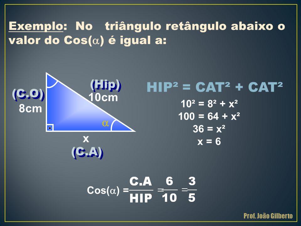 Exemplo: No triângulo retângulo abaixo o valor do Cos() é igual a: