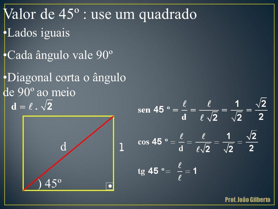 . Valor de 45º : use um quadrado Lados iguais Cada ângulo vale 90º