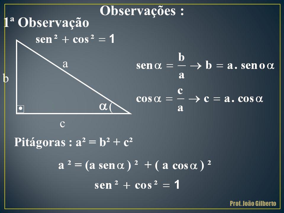 . Observações : 1ª Observação a b ( c Pitágoras : a² = b² + c²
