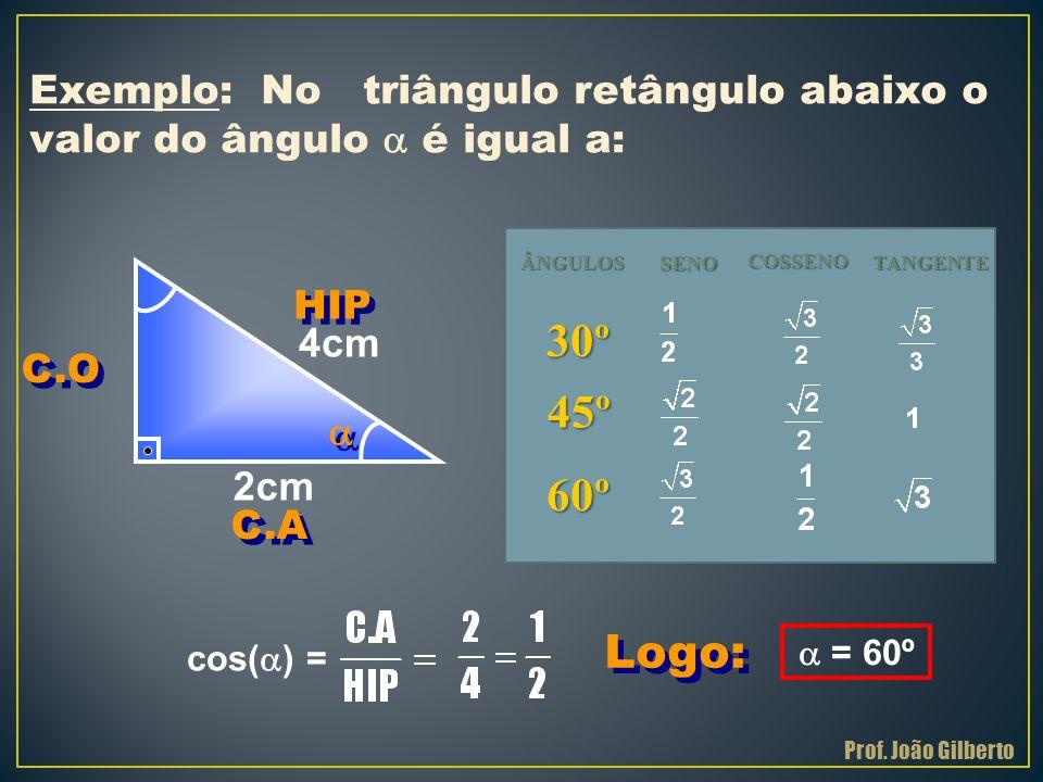 Exemplo: No triângulo retângulo abaixo o valor do ângulo  é igual a: