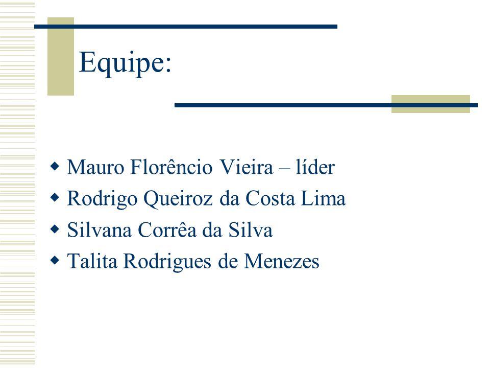 Equipe: Mauro Florêncio Vieira – líder Rodrigo Queiroz da Costa Lima