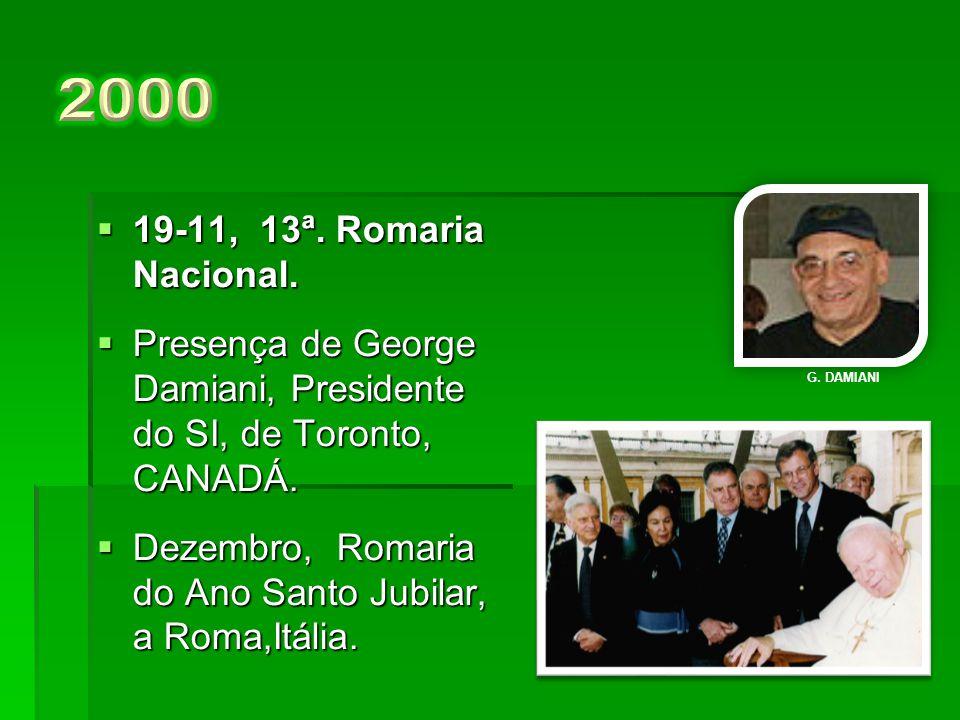 2000 19-11, 13ª. Romaria Nacional. Presença de George Damiani, Presidente do SI, de Toronto, CANADÁ.
