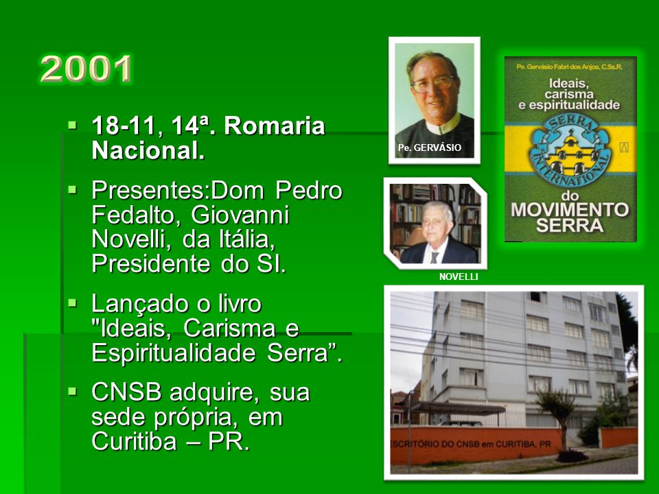 2001 Pe. GERVÁSIO. 18-11, 14ª. Romaria Nacional. Presentes:Dom Pedro Fedalto, Giovanni Novelli, da Itália, Presidente do SI.