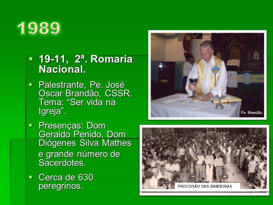1989 19-11, 2ª. Romaria Nacional. Palestrante, Pe. José Oscar Brandão, CSSR. Tema: Ser vida na Igreja .