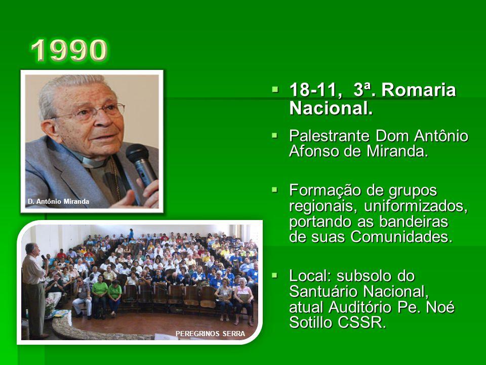 1990 D. Antônio Miranda. 18-11, 3ª. Romaria Nacional. Palestrante Dom Antônio Afonso de Miranda.