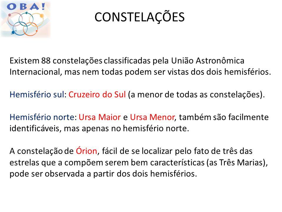 CONSTELAÇÕES Existem 88 constelações classificadas pela União Astronômica Internacional, mas nem todas podem ser vistas dos dois hemisférios.