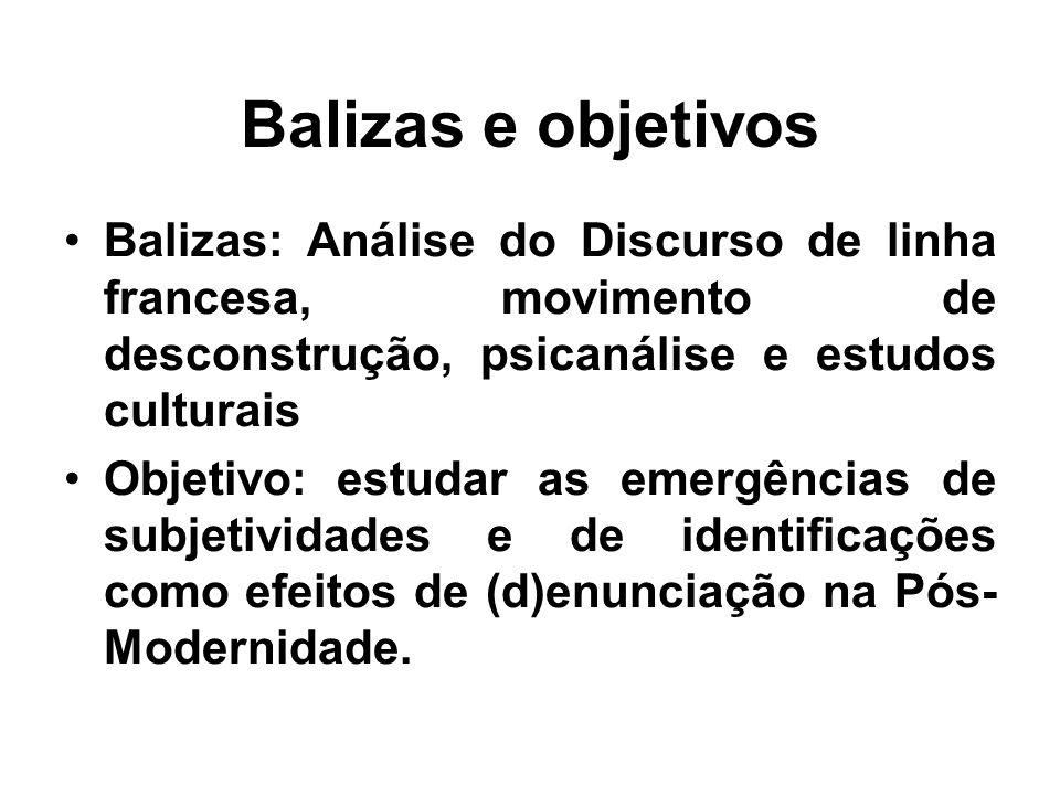 Balizas e objetivos Balizas: Análise do Discurso de linha francesa, movimento de desconstrução, psicanálise e estudos culturais.