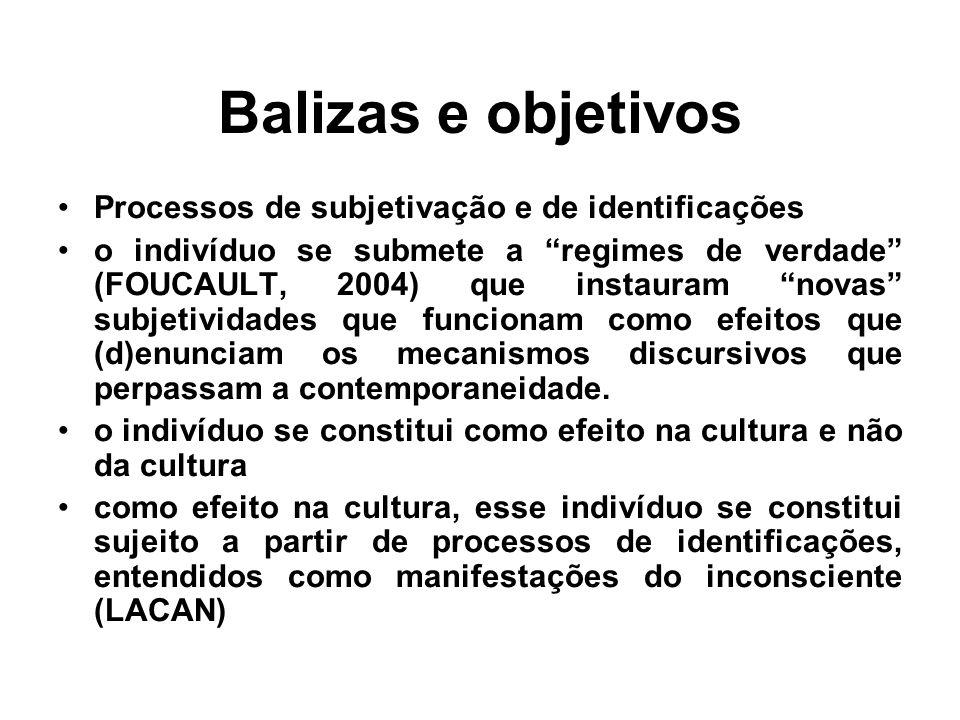 Balizas e objetivos Processos de subjetivação e de identificações
