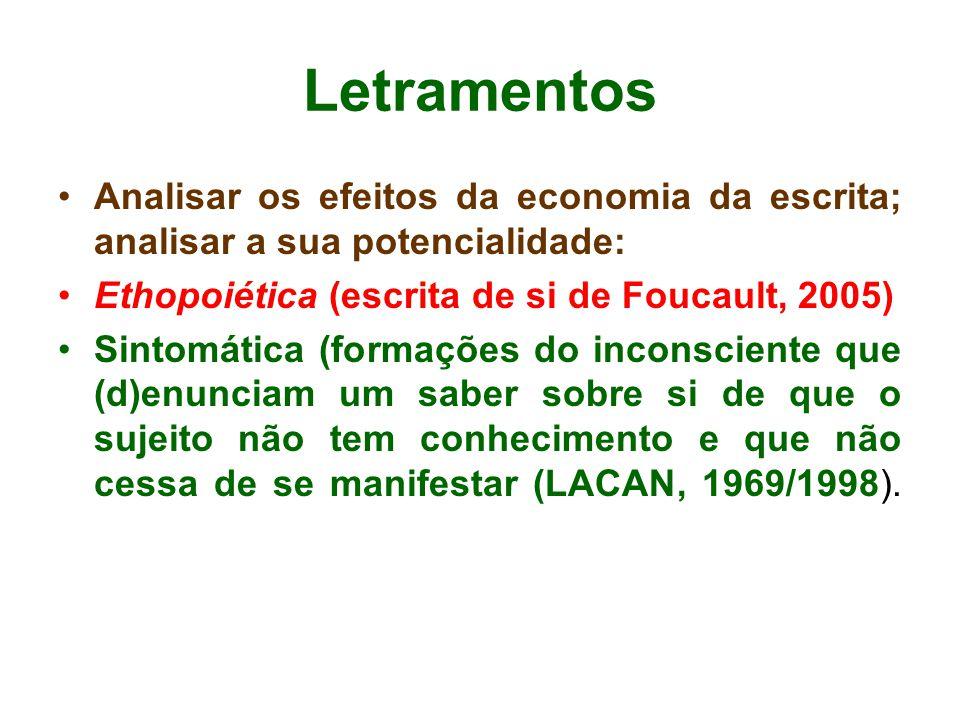 Letramentos Analisar os efeitos da economia da escrita; analisar a sua potencialidade: Ethopoiética (escrita de si de Foucault, 2005)