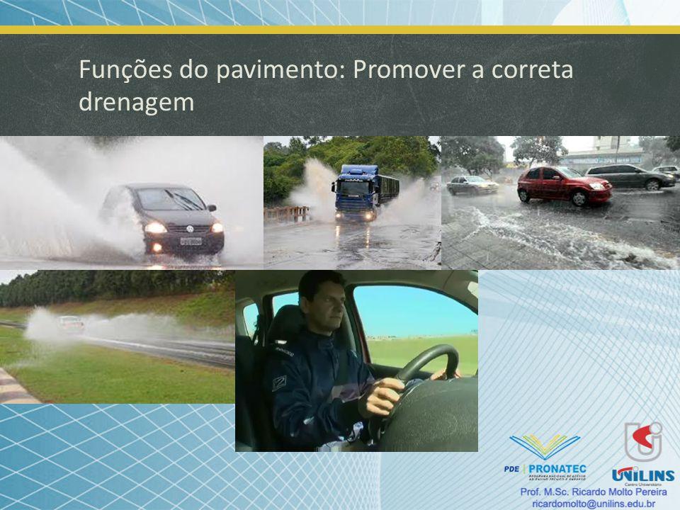 Funções do pavimento: Promover a correta drenagem