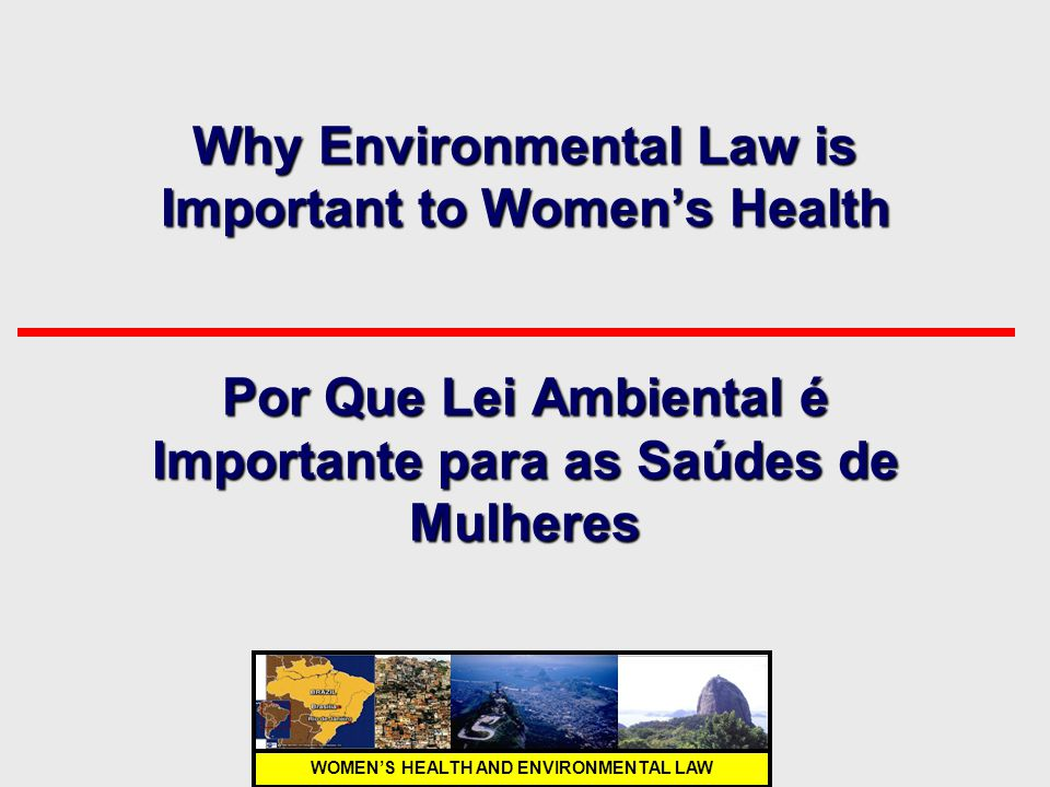 Why Environmental Law is Important to Women's Health Por Que Lei Ambiental é Importante para as Saúdes de Mulheres