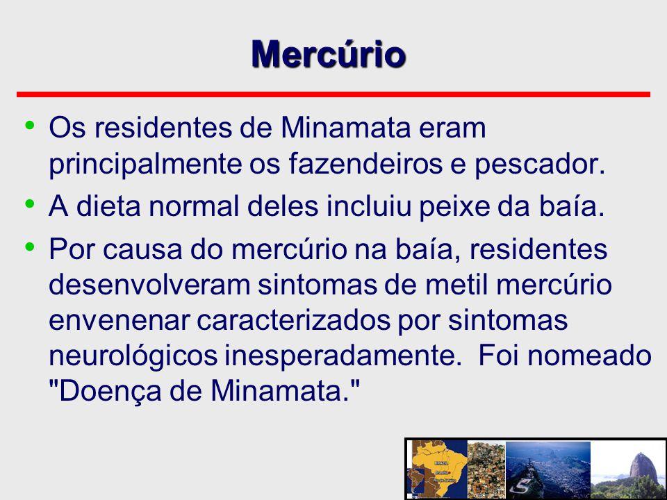 Mercúrio Os residentes de Minamata eram principalmente os fazendeiros e pescador. A dieta normal deles incluiu peixe da baía.