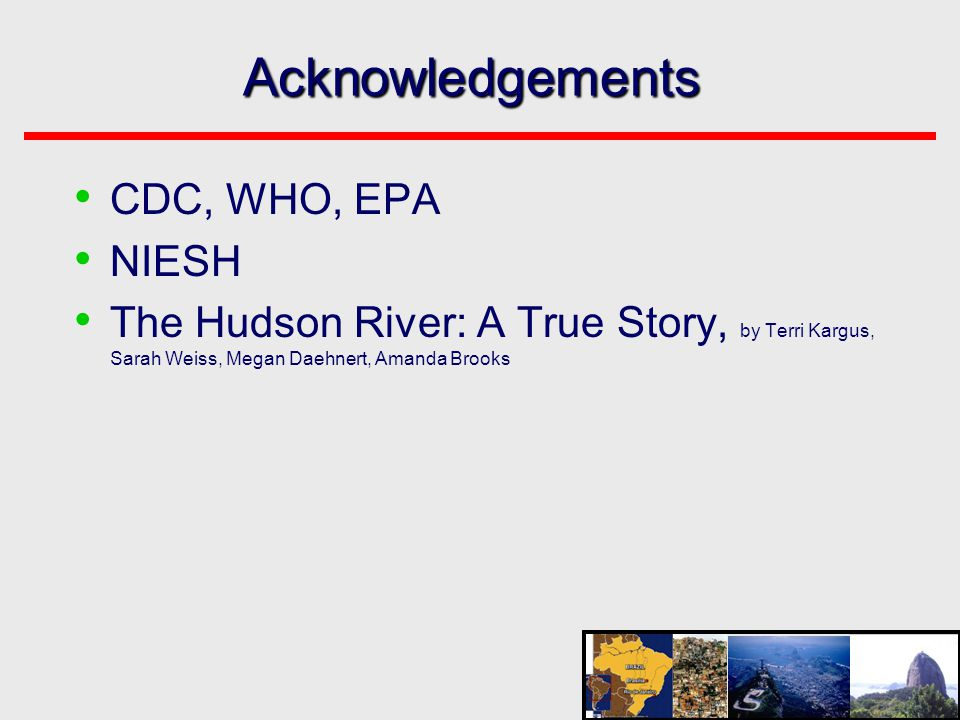 Acknowledgements CDC, WHO, EPA NIESH