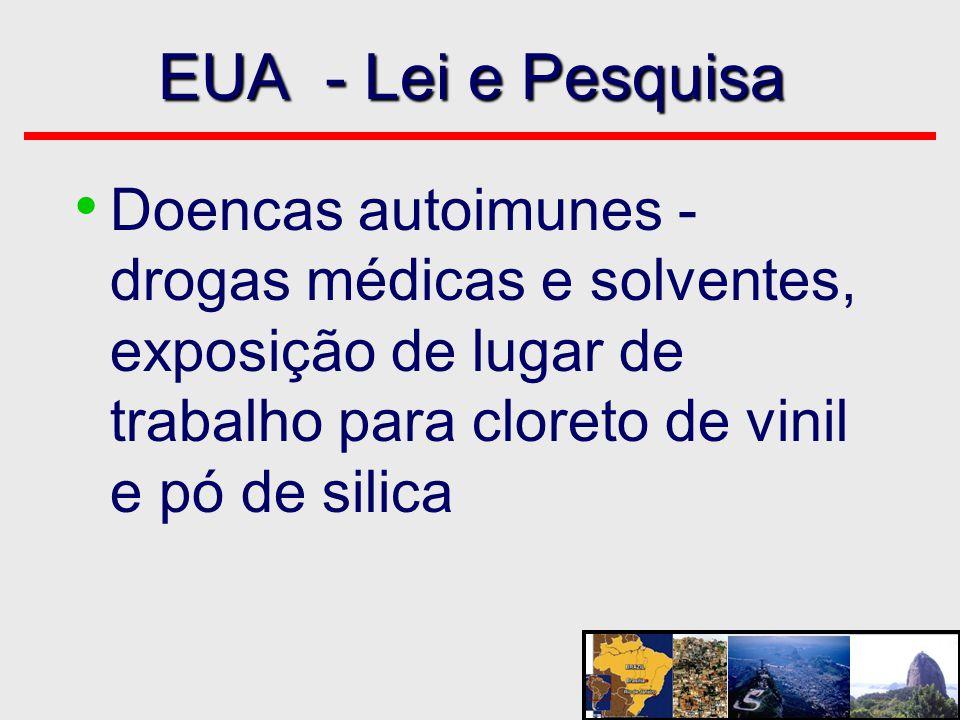 EUA - Lei e Pesquisa Doencas autoimunes - drogas médicas e solventes, exposição de lugar de trabalho para cloreto de vinil e pó de silica.