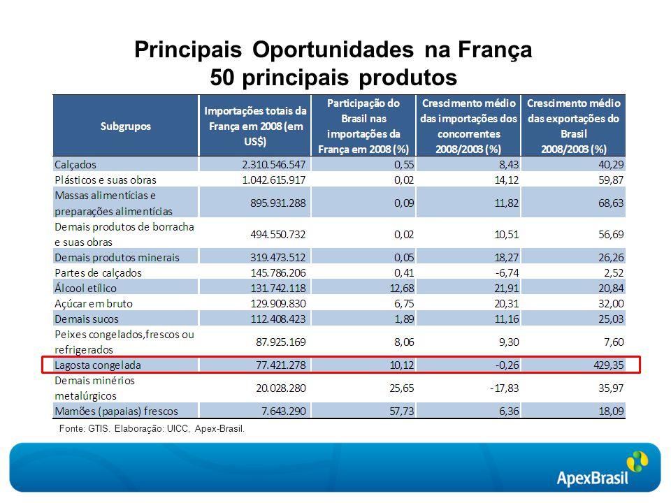 Principais Oportunidades na França 50 principais produtos