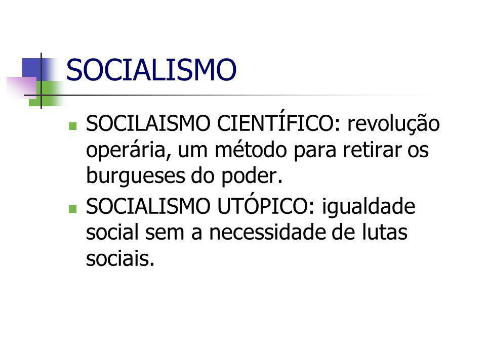 SOCIALISMO SOCILAISMO CIENTÍFICO: revolução operária, um método para retirar os burgueses do poder.