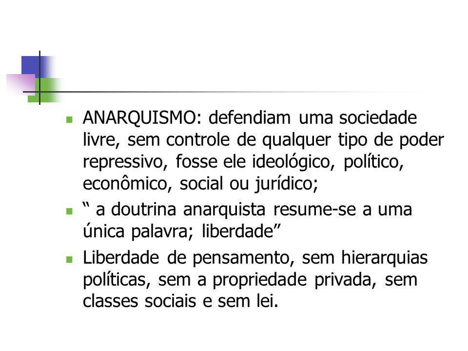ANARQUISMO: defendiam uma sociedade livre, sem controle de qualquer tipo de poder repressivo, fosse ele ideológico, político, econômico, social ou jurídico;