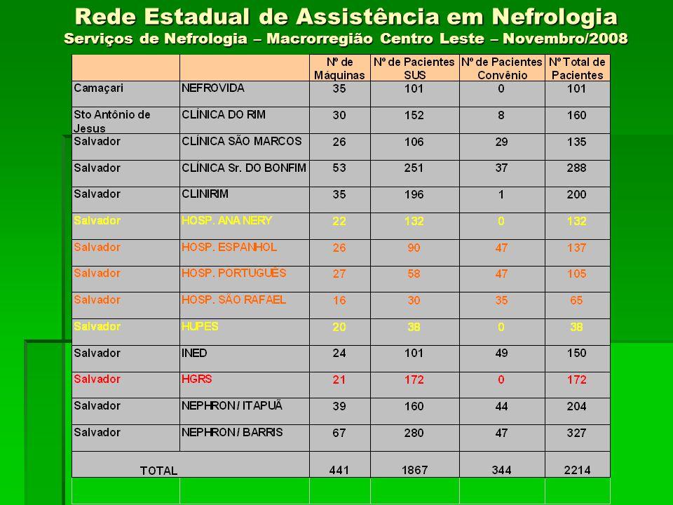 Rede Estadual de Assistência em Nefrologia Serviços de Nefrologia – Macrorregião Centro Leste – Novembro/2008