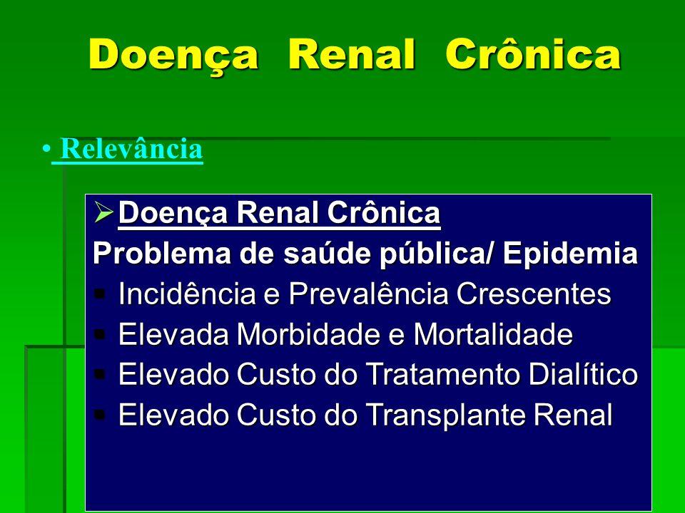 Doença Renal Crônica Relevância Doença Renal Crônica