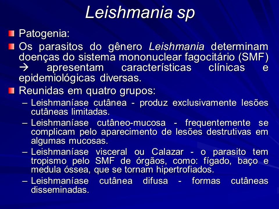 Leishmania sp Patogenia: